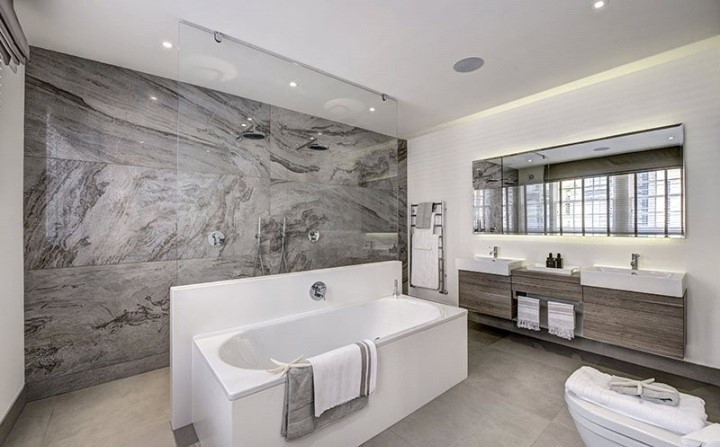 modern luxury bathroom grey marble tiles interior design