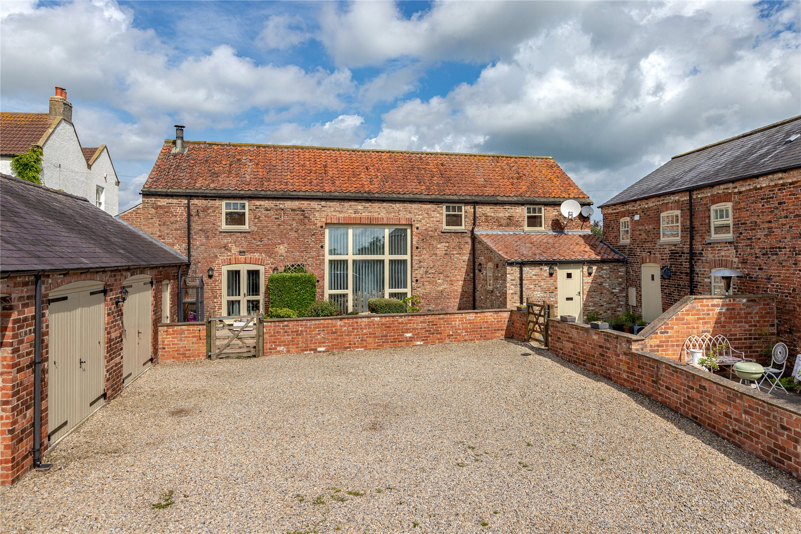 north yorkshire brick renovated barn conversion with courtyard