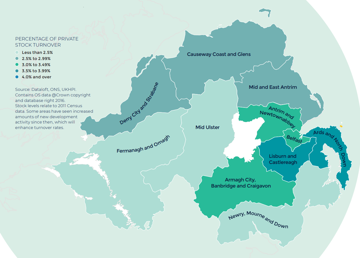 Northern Ireland annual rate of price change regional property market report statistics