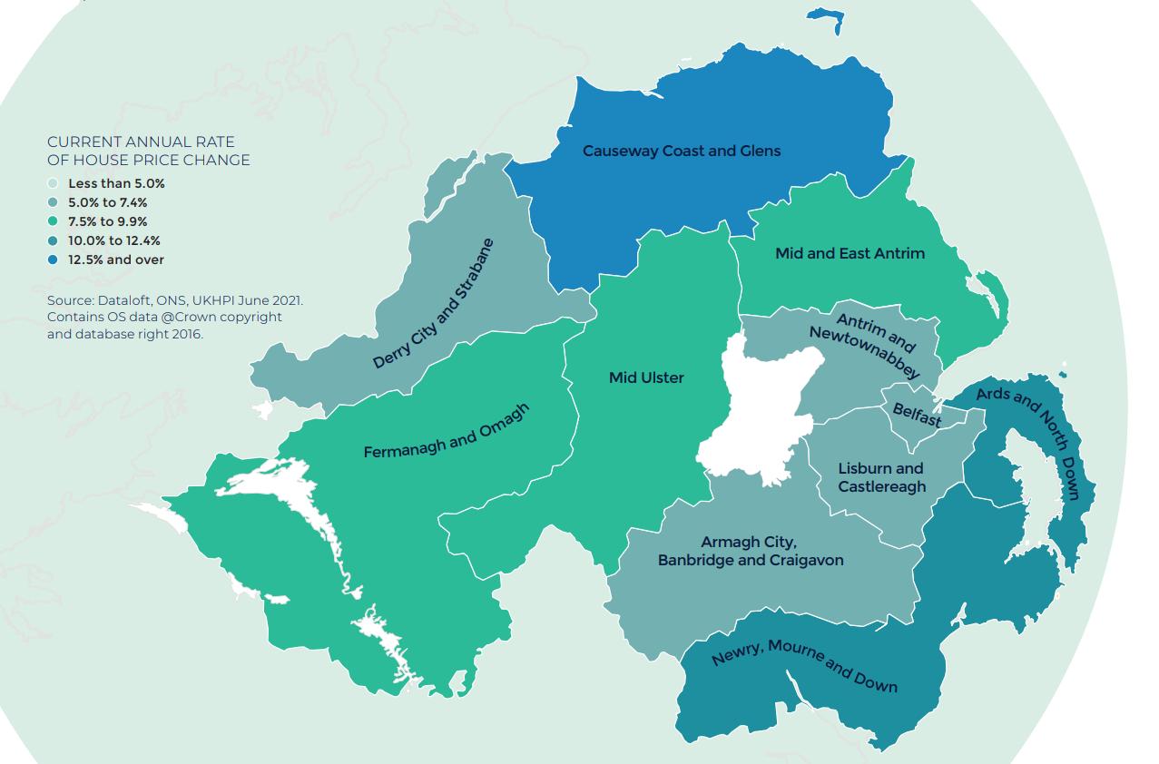Northern Ireland Autumn regional property market report map UK