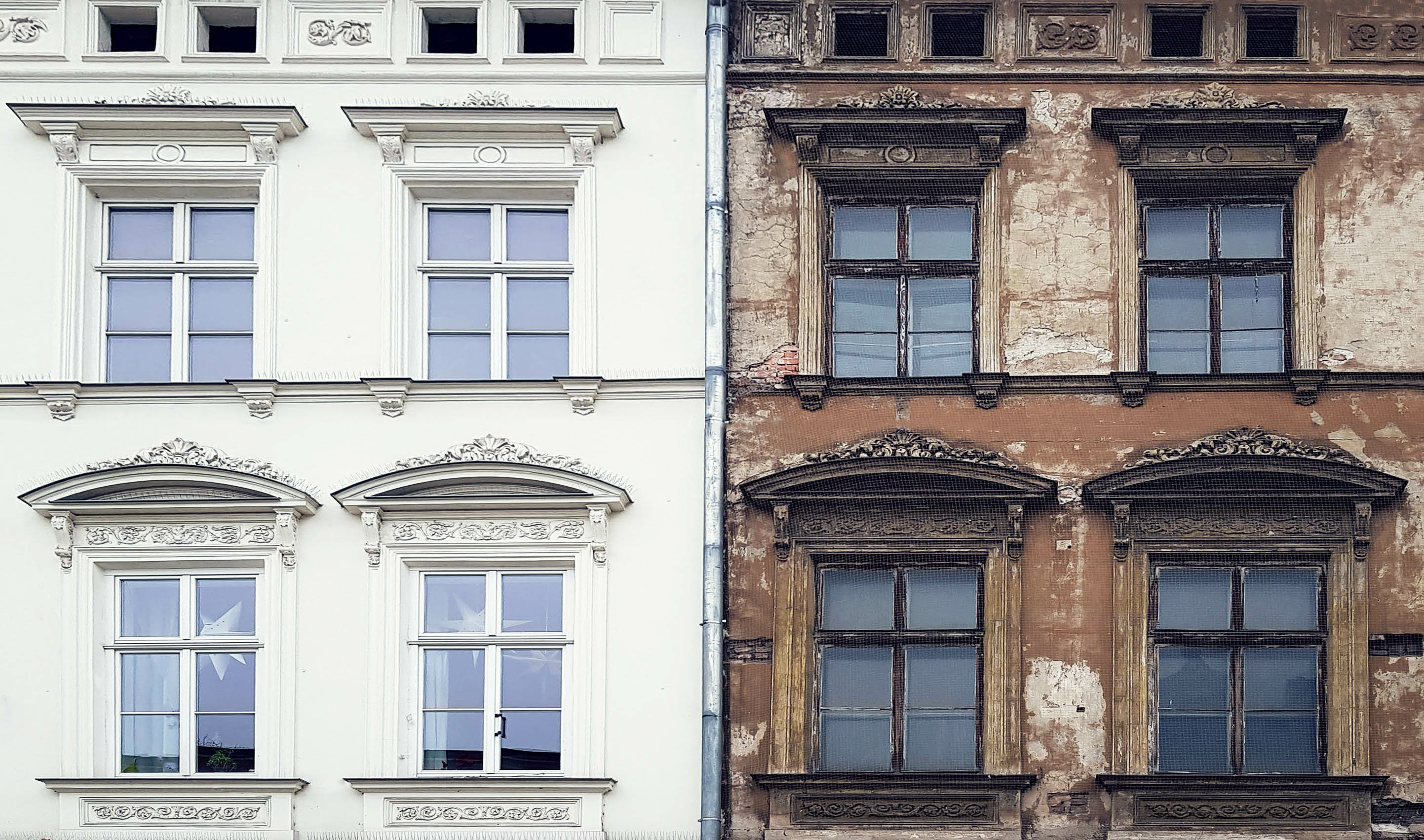 old and new terrace house