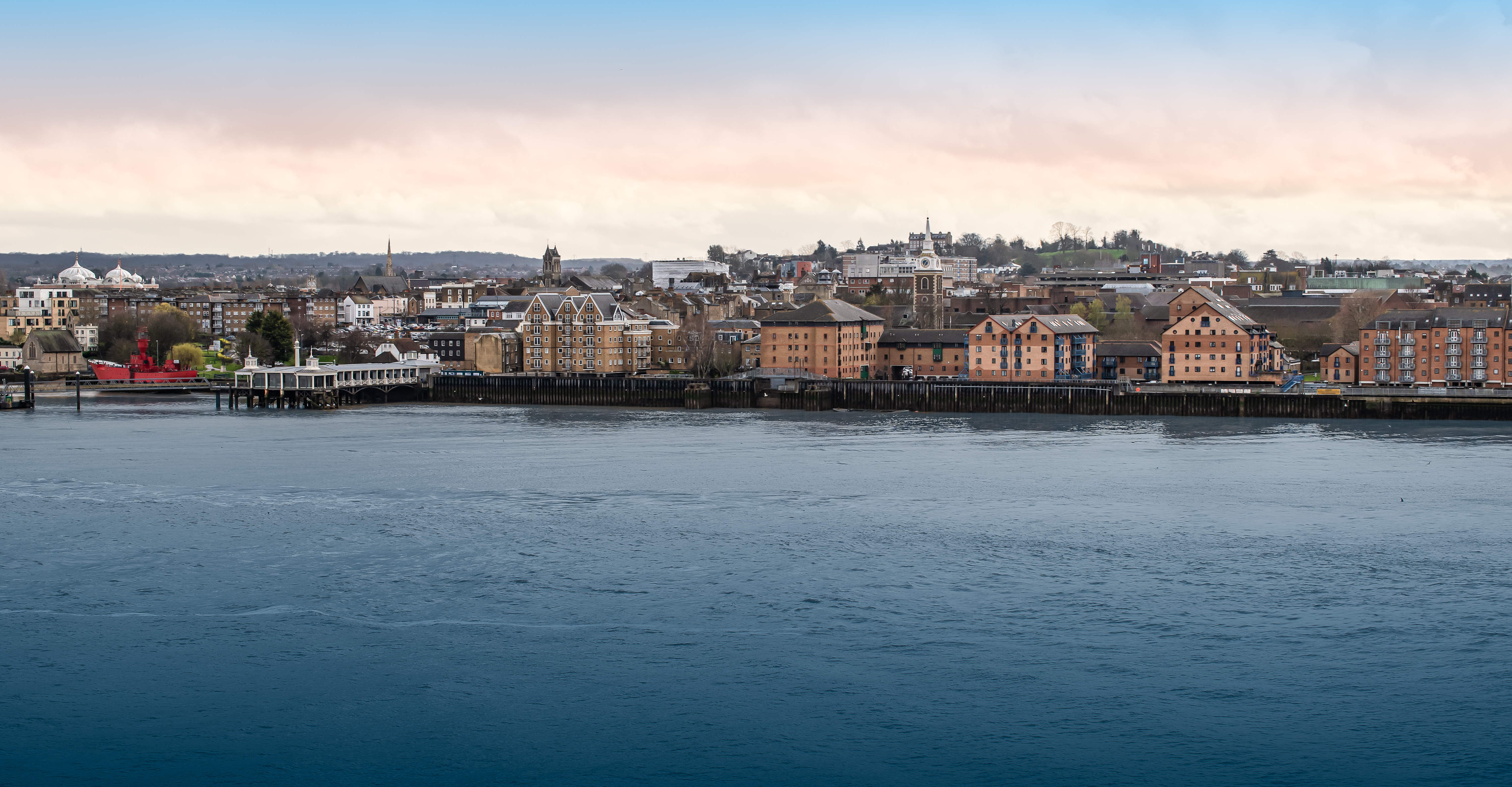 Panoramic view of Gravesend and the Thames river, England, UK