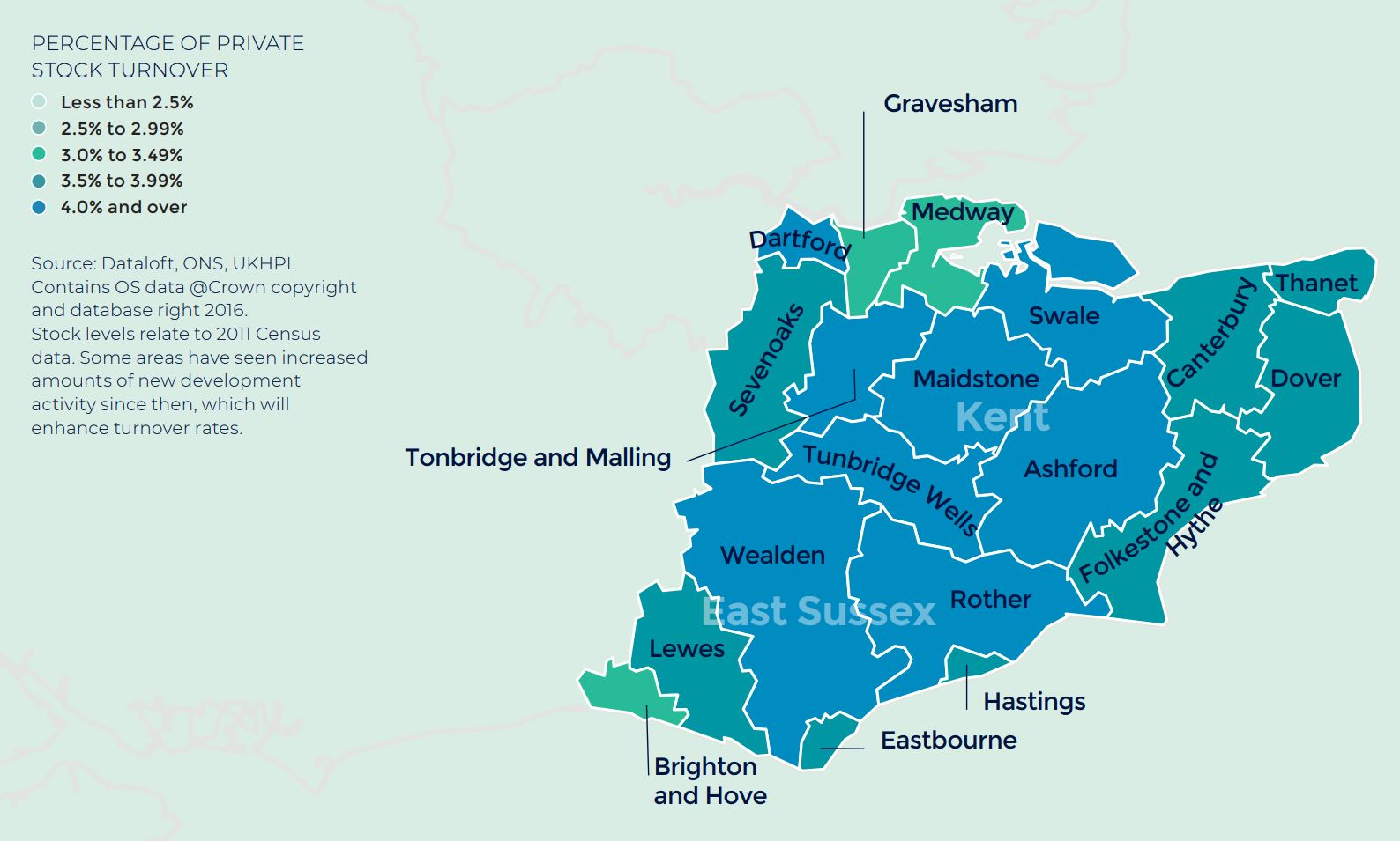 South east annual rate of price change regional property market report map