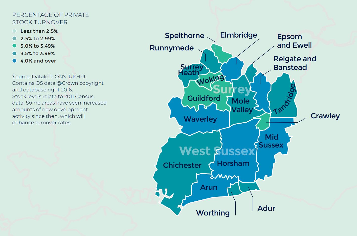 Southern Home Counties Kent and West Sussex annual rate of price change regional property market report map