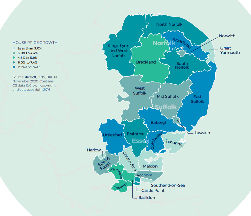 east region of england house price growth