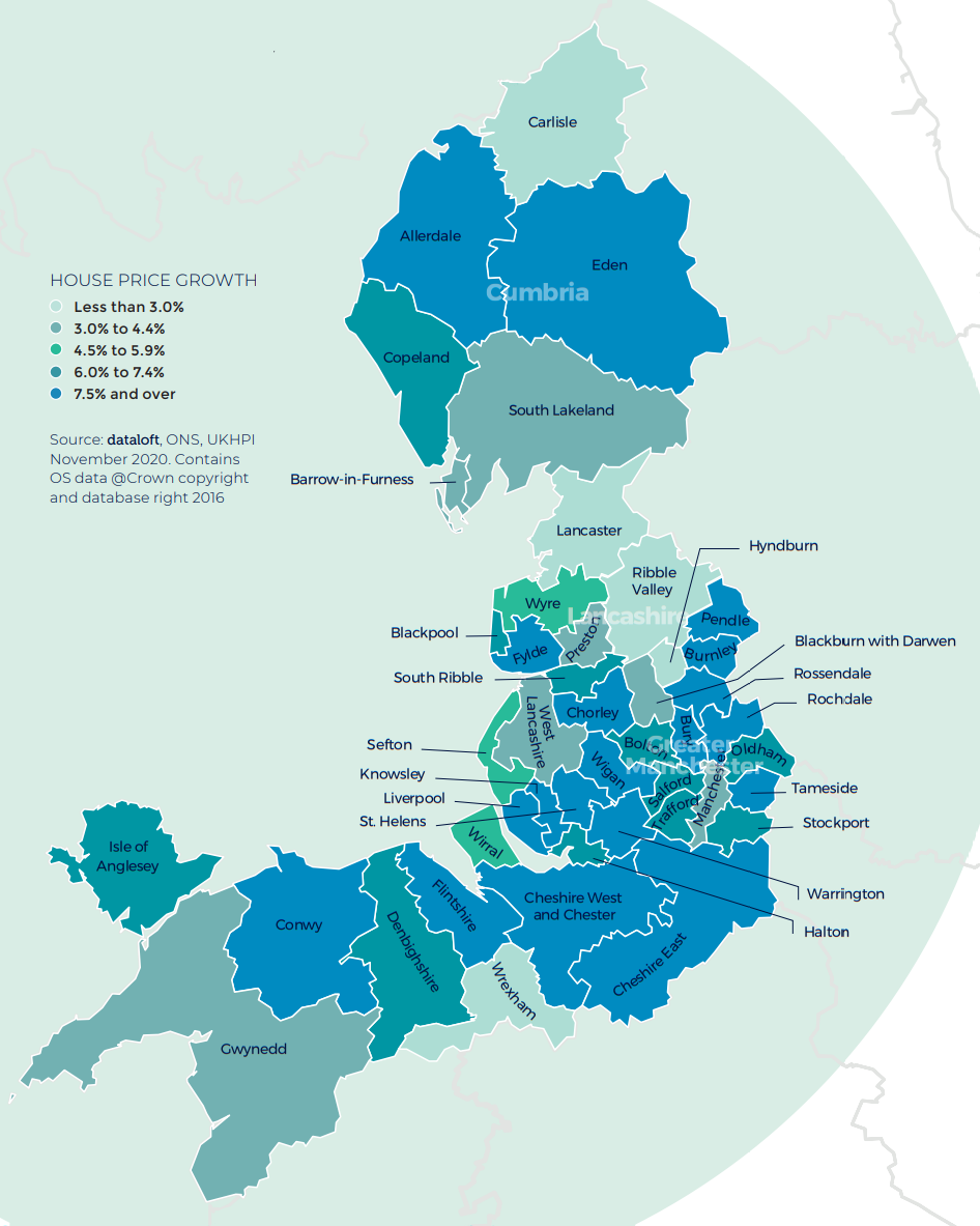 Spring 2021 property maket update - North West England and Wales map