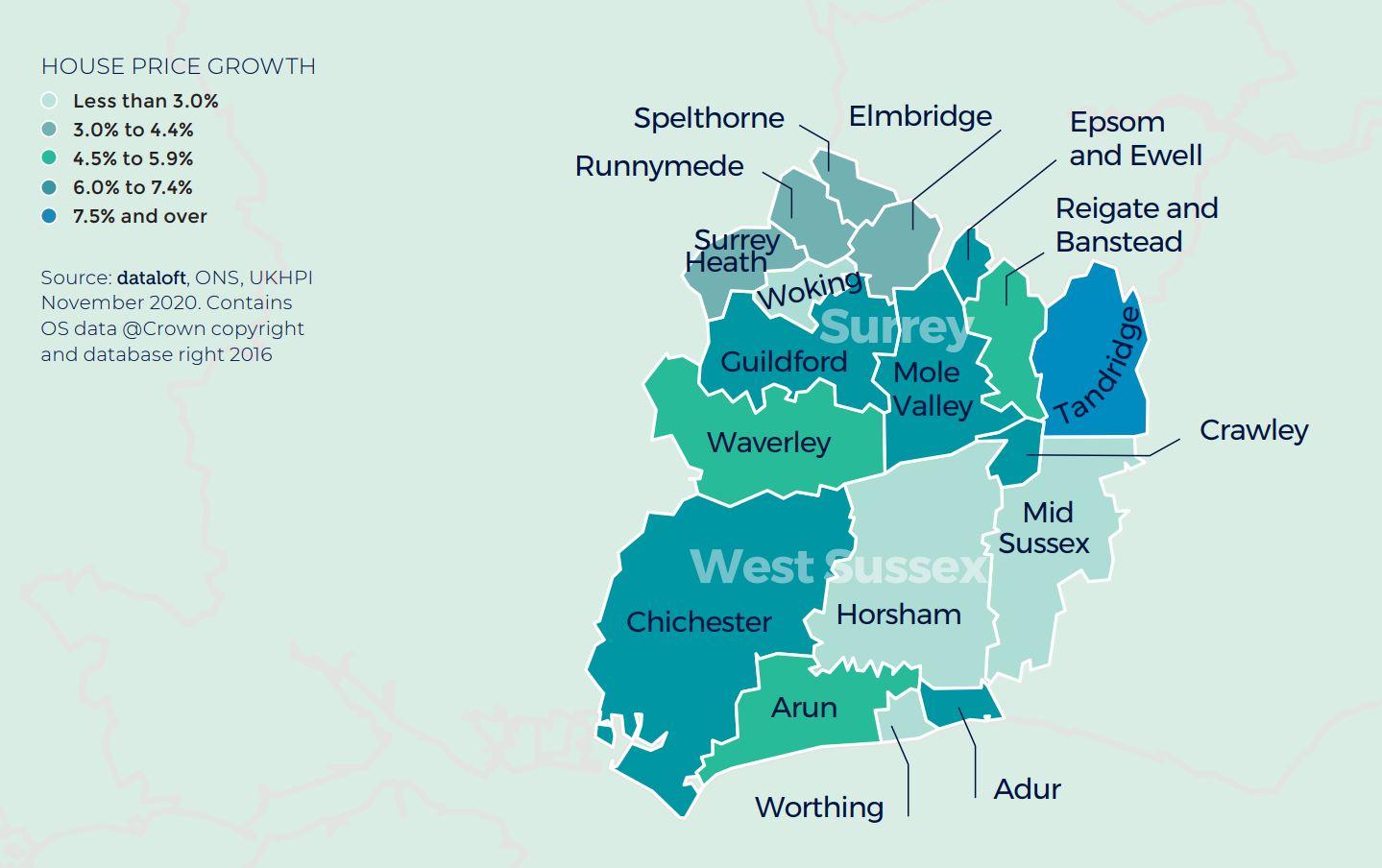 Surrey West Sussex Southern regional property market report house price growth