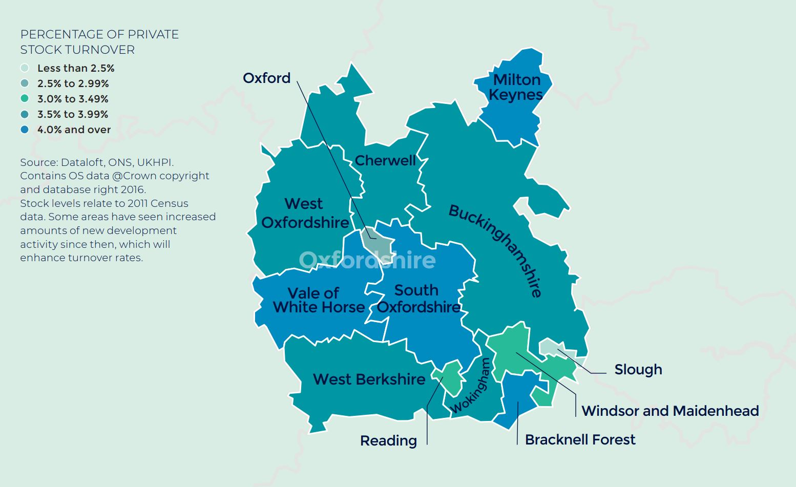 Thames Valley, Berkshire, Oxfordshire and Buckinghamshire annual rate of price change regional property market report map