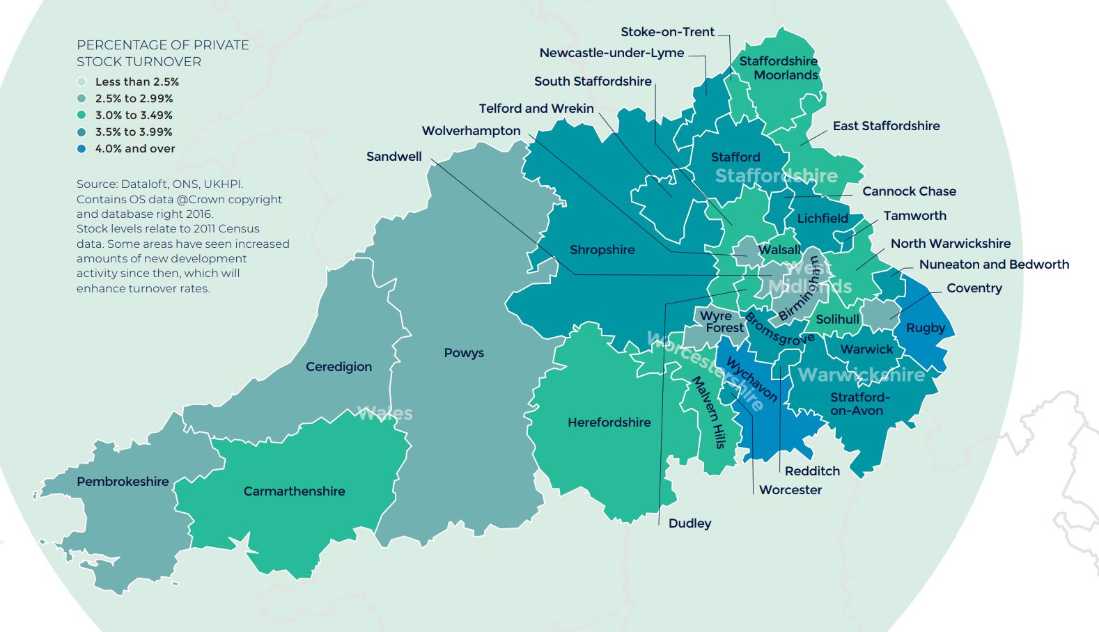 West Midlands and Mid Wales annual rate of price change regional property market report map