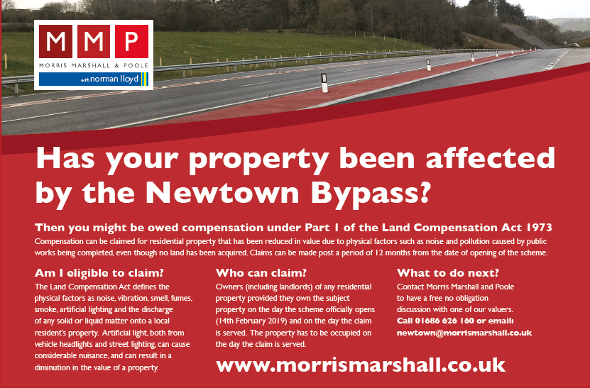 Homeowners affected by the Newtown bypass could claim compensation
