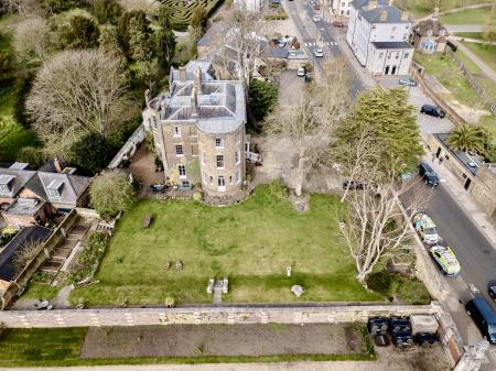 Aerial shot & boundary wall to Palace gardens