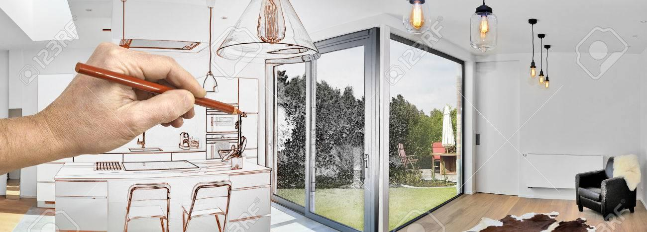 83105807-drawing-renovation-of-a-open-modern-kitchen-from-loft-with-view-on-a-lush-garden_hd