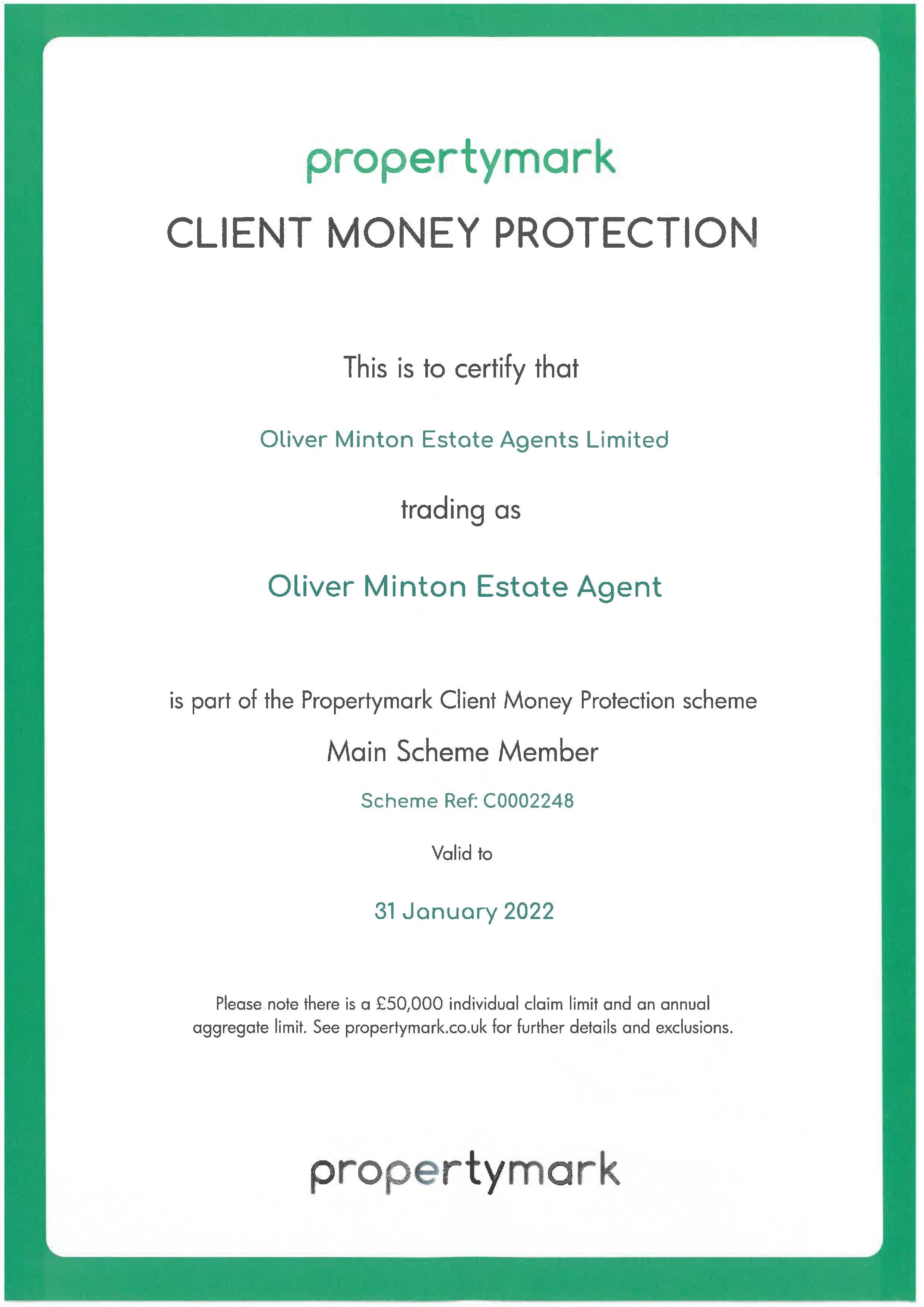 Client Money Protection Scheme Certificate